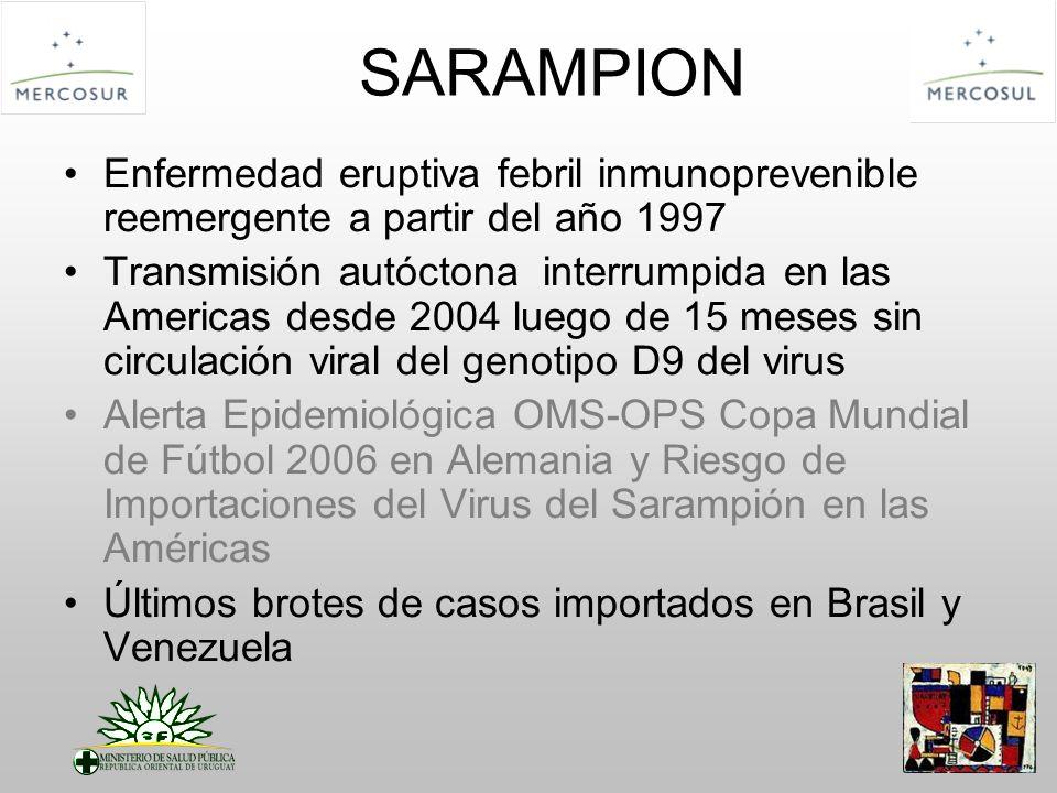 SARAMPION Enfermedad eruptiva febril inmunoprevenible reemergente a partir del año 1997.