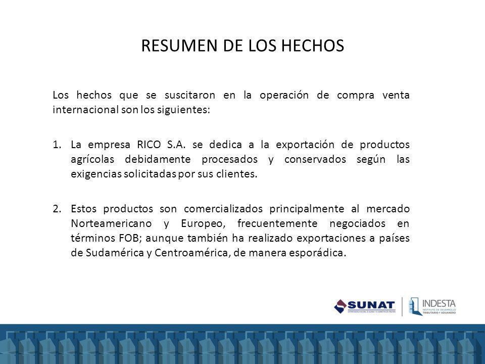 RESUMEN DE LOS HECHOS Los hechos que se suscitaron en la operación de compra venta internacional son los siguientes: