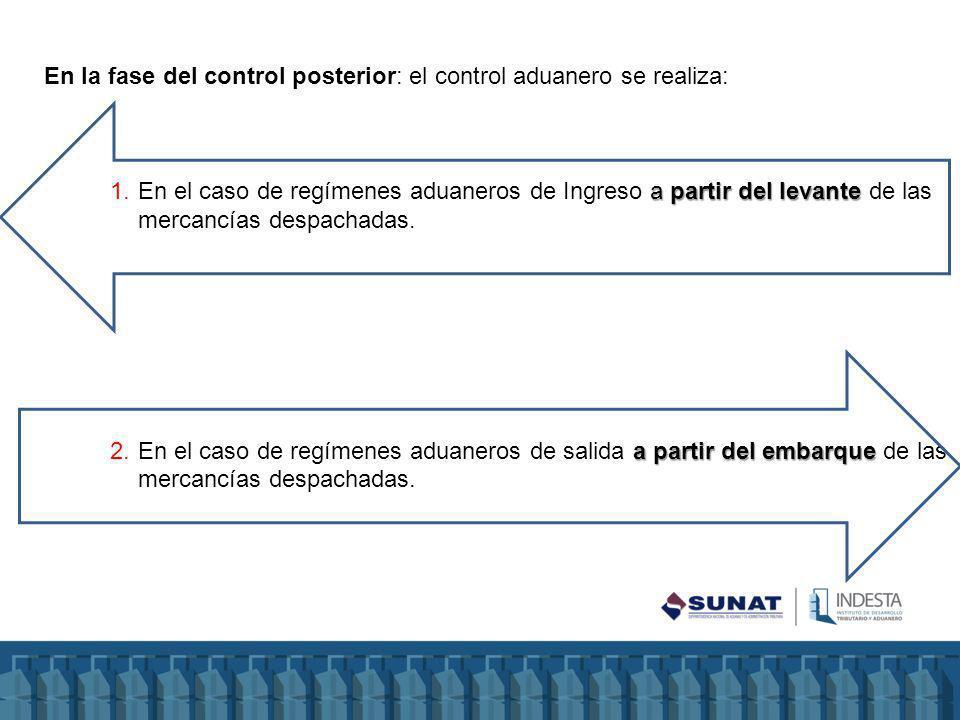 En la fase del control posterior: el control aduanero se realiza: