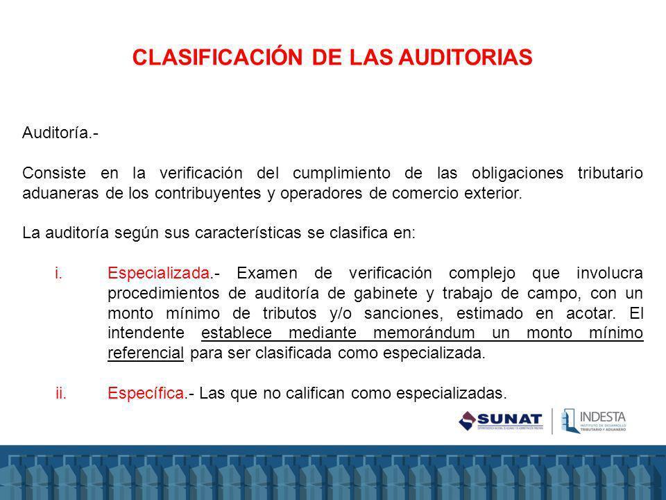 CLASIFICACIÓN DE LAS AUDITORIAS