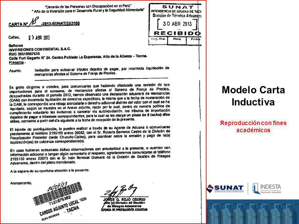 Modelo Carta Inductiva Reproducción con fines académicos