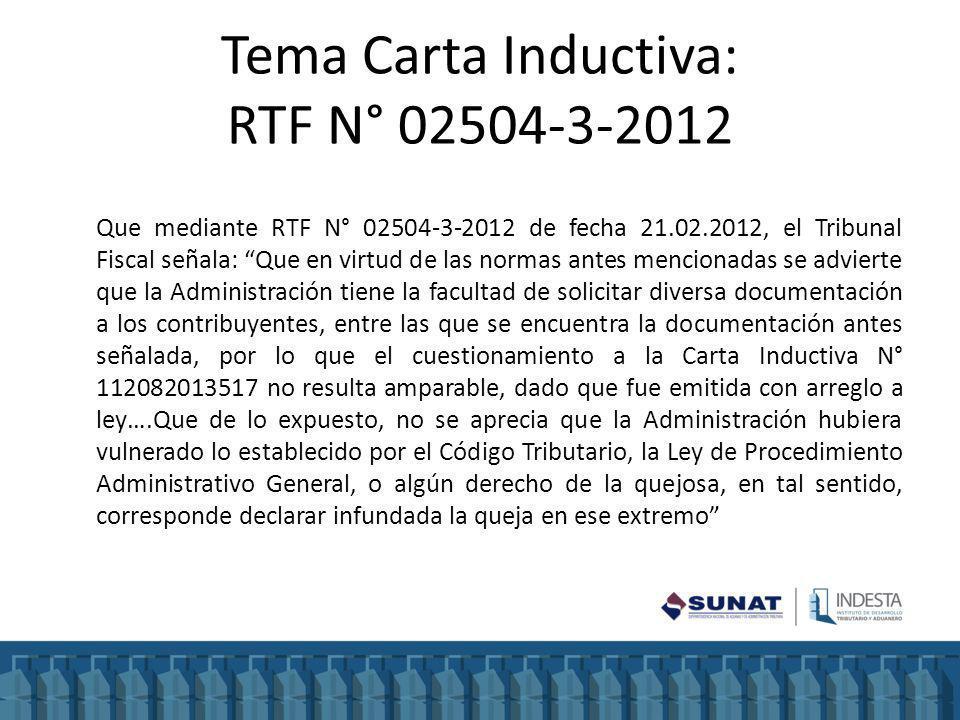 Tema Carta Inductiva: RTF N° 02504-3-2012