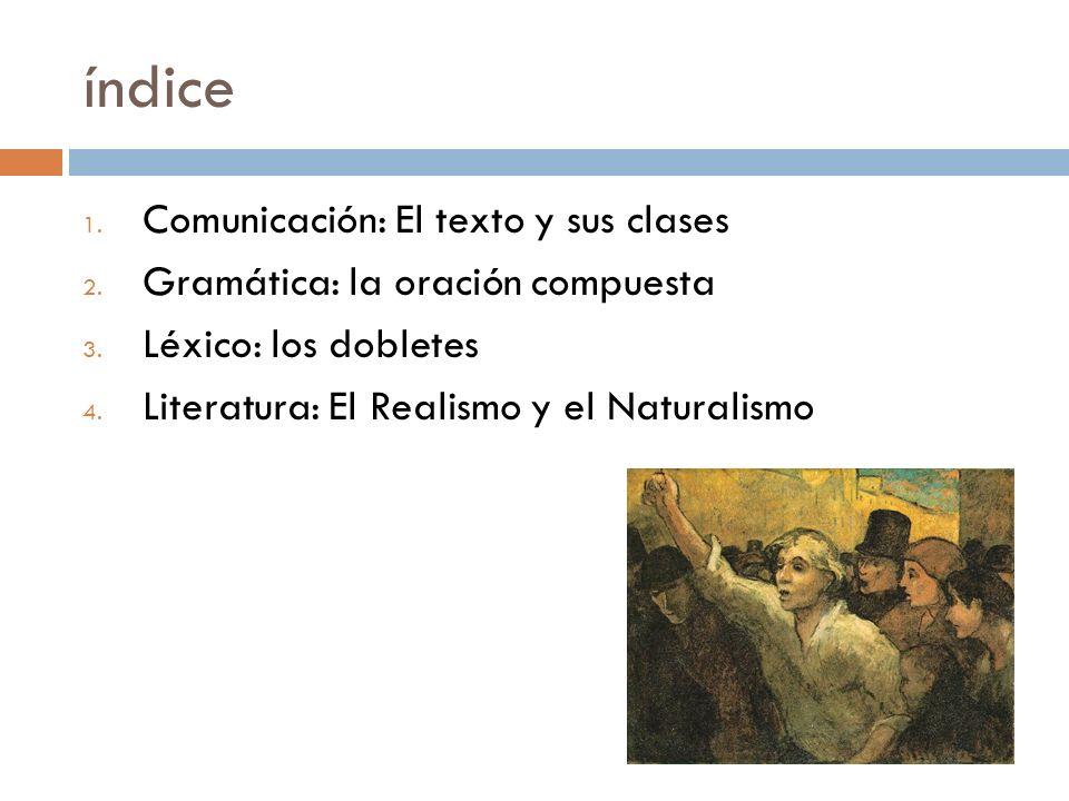 índice Comunicación: El texto y sus clases