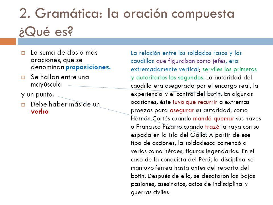 2. Gramática: la oración compuesta ¿Qué es