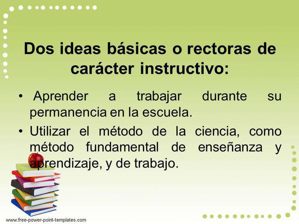 Dos ideas básicas o rectoras de carácter instructivo: