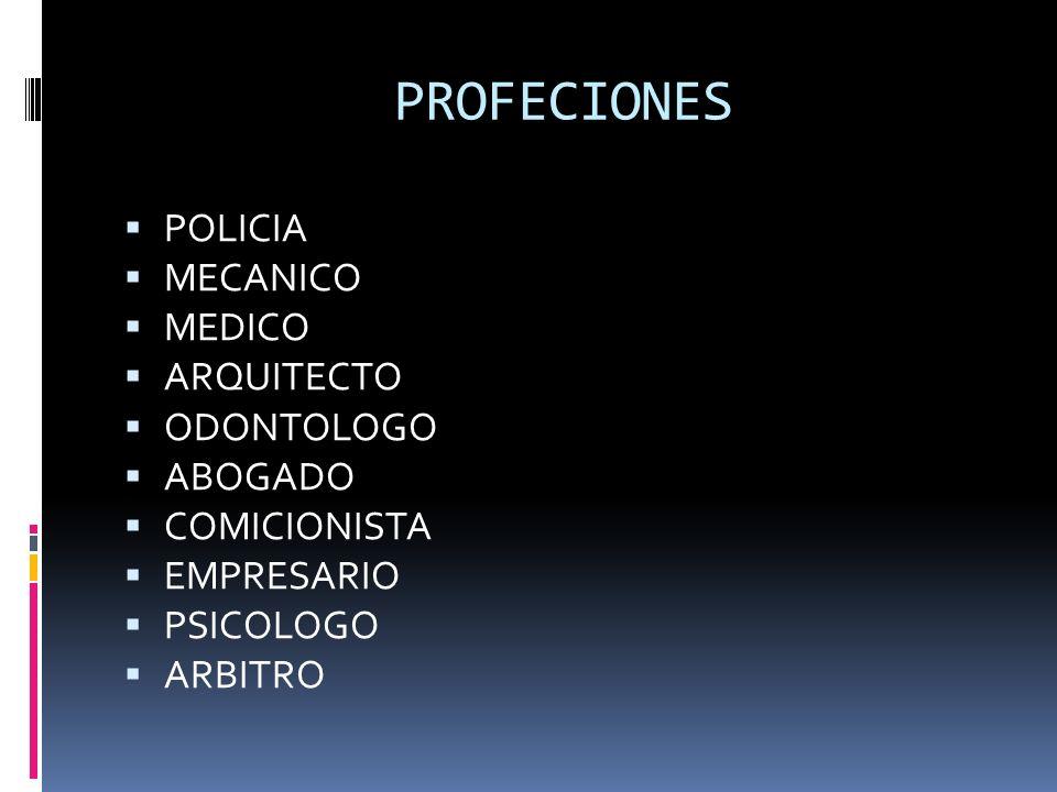 PROFECIONES POLICIA MECANICO MEDICO ARQUITECTO ODONTOLOGO ABOGADO