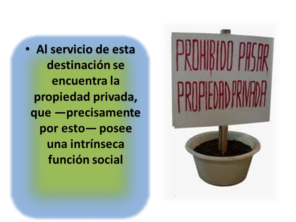 Al servicio de esta destinación se encuentra la propiedad privada, que —precisamente por esto— posee una intrínseca función social