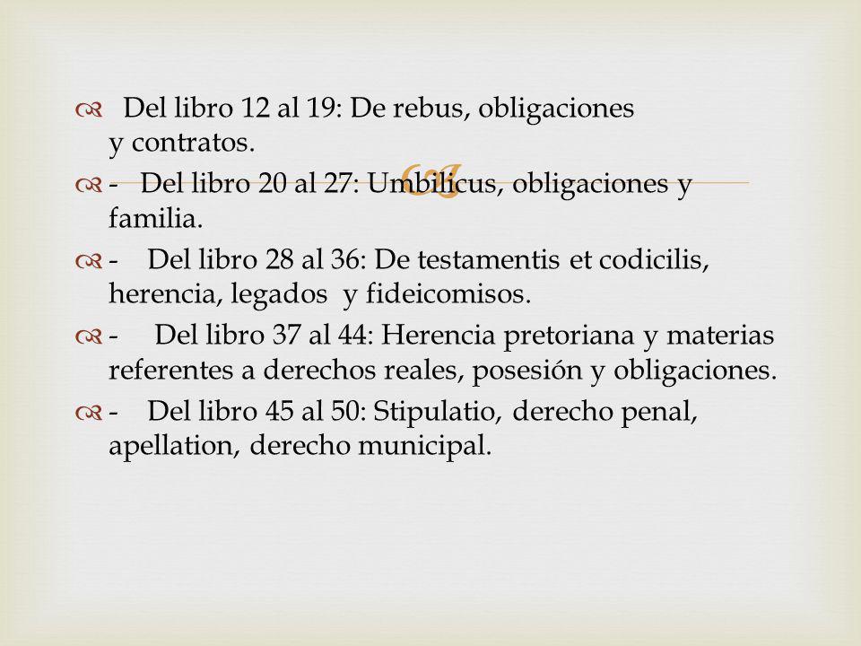 Del libro 12 al 19: De rebus, obligaciones y contratos.