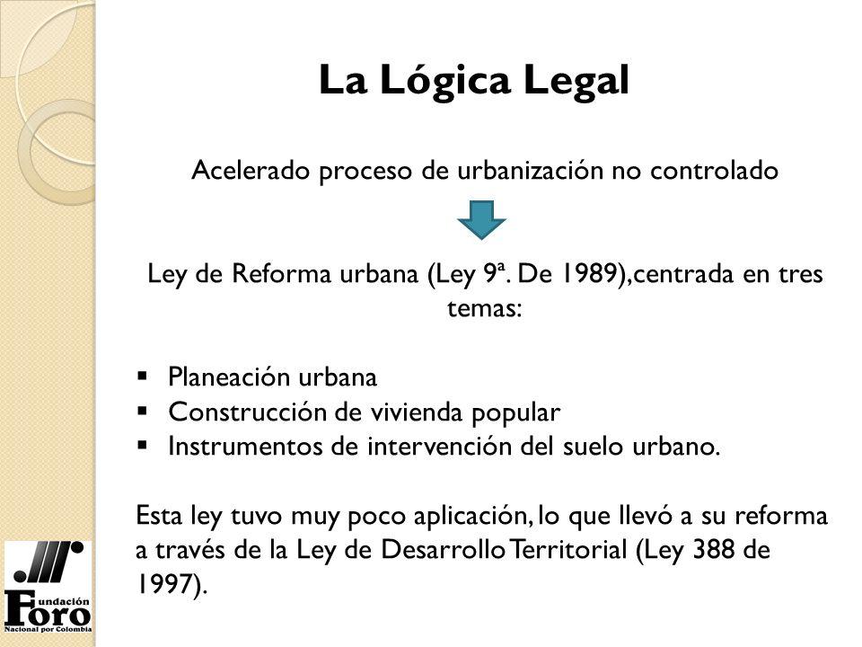 La Lógica Legal Acelerado proceso de urbanización no controlado