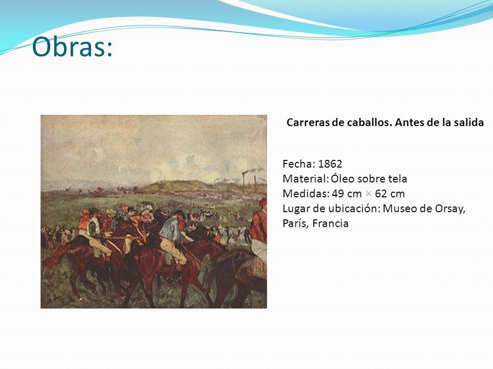 Obras: Carreras de caballos. Antes de la salida Fecha: 1862