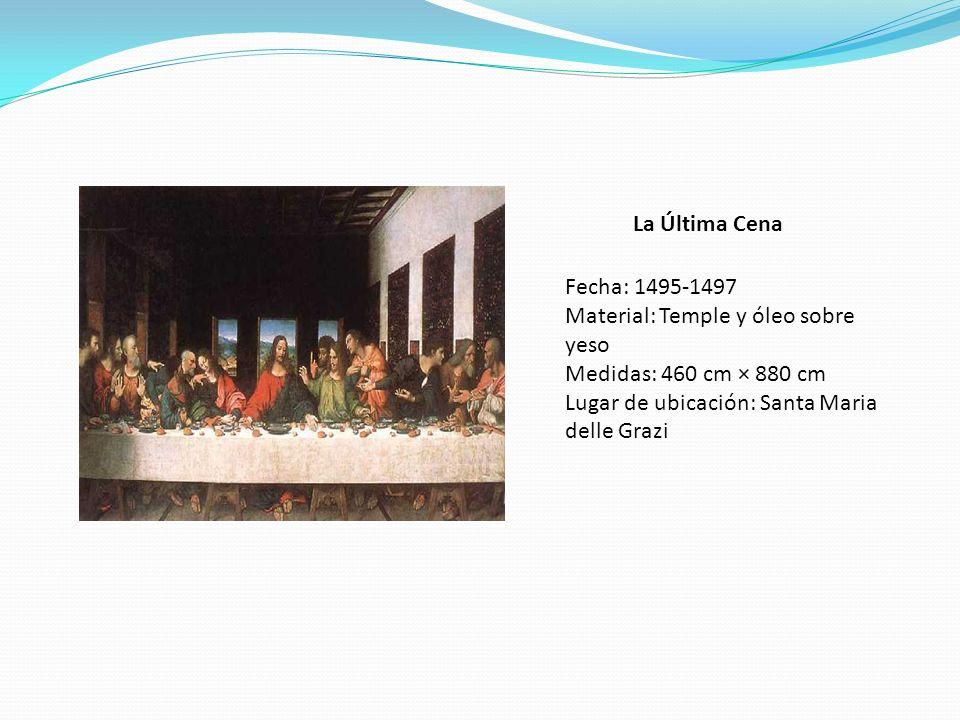 La Última Cena Fecha: 1495-1497. Material: Temple y óleo sobre yeso.