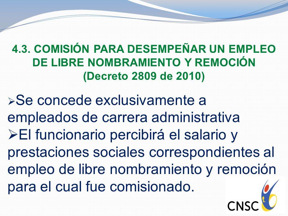 4.3. COMISIÓN PARA DESEMPEÑAR UN EMPLEO DE LIBRE NOMBRAMIENTO Y REMOCIÓN