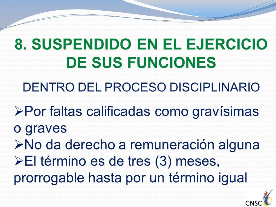 8. SUSPENDIDO EN EL EJERCICIO DE SUS FUNCIONES