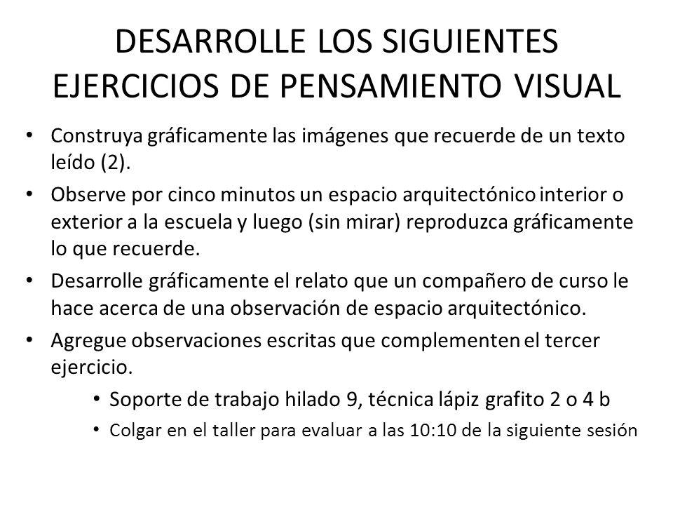 DESARROLLE LOS SIGUIENTES EJERCICIOS DE PENSAMIENTO VISUAL