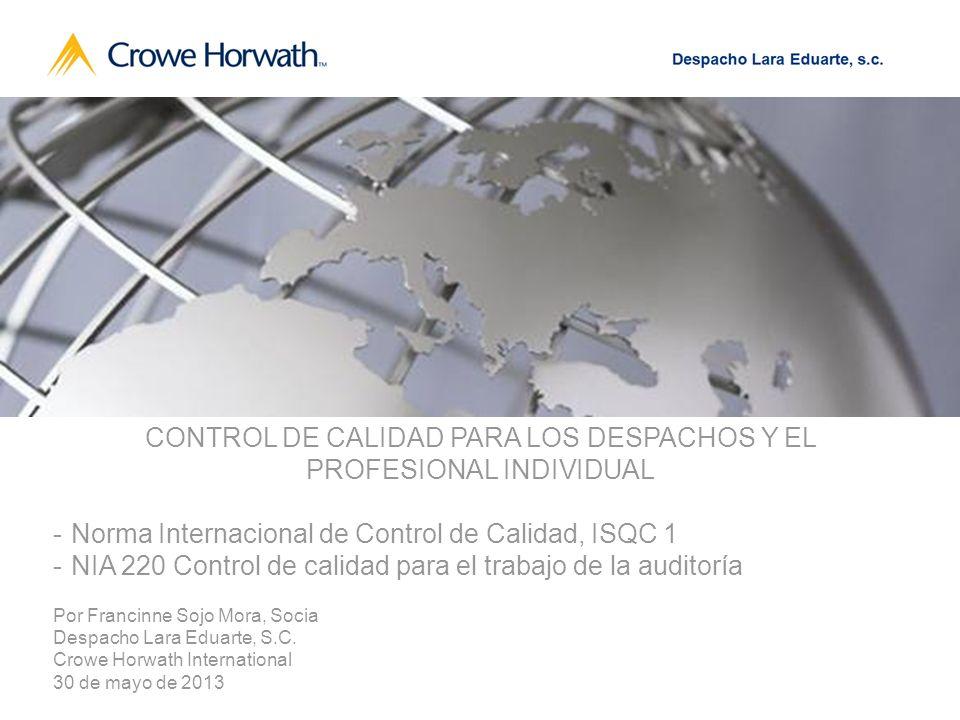 CONTROL DE CALIDAD PARA LOS DESPACHOS Y EL PROFESIONAL INDIVIDUAL