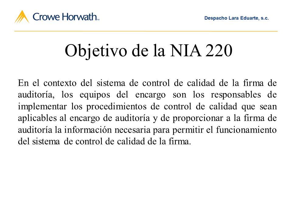 Objetivo de la NIA 220