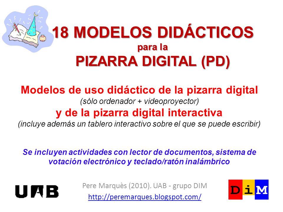 18 MODELOS DIDÁCTICOS para la PIZARRA DIGITAL (PD)