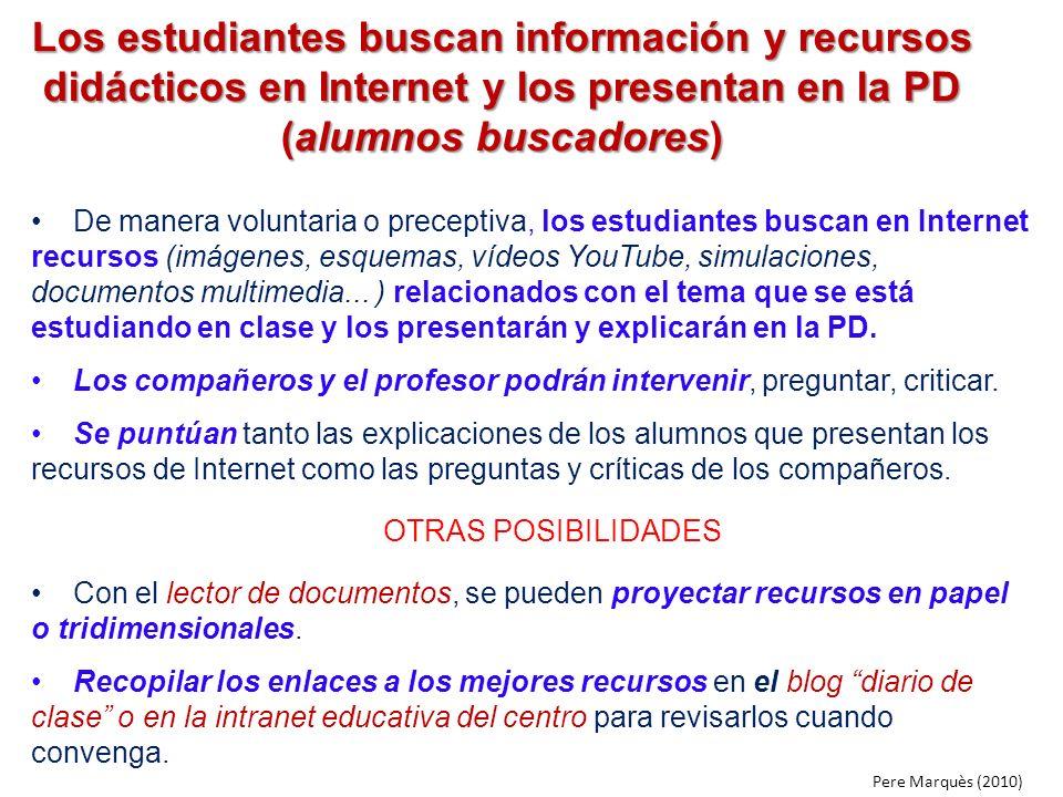 Los estudiantes buscan información y recursos didácticos en Internet y los presentan en la PD (alumnos buscadores)