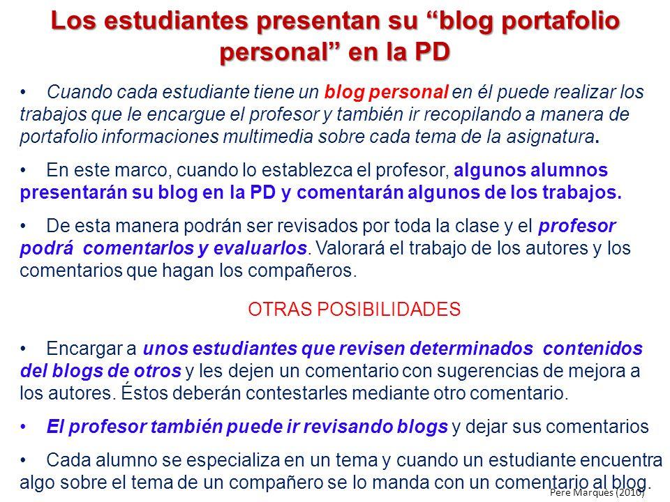 Los estudiantes presentan su blog portafolio personal en la PD