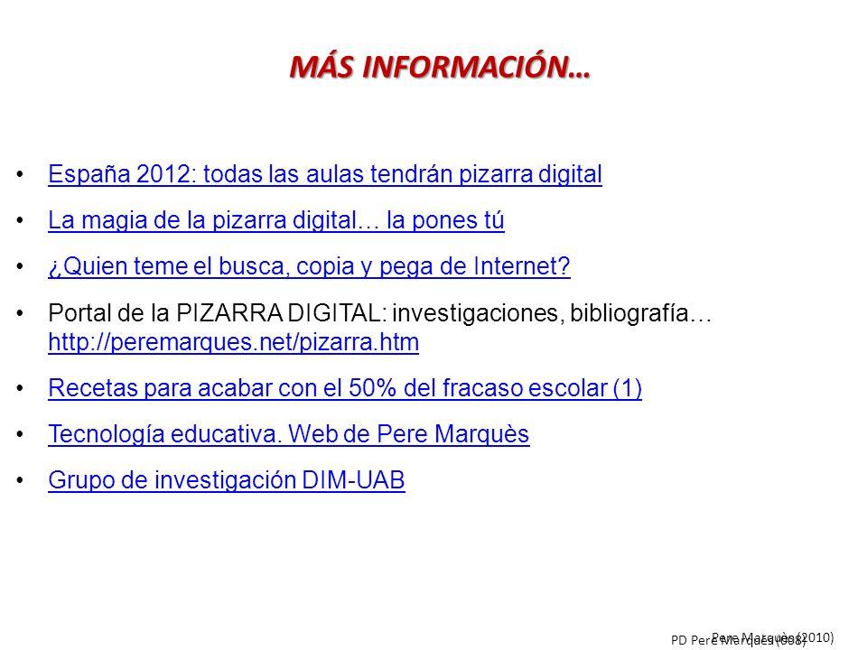 MÁS INFORMACIÓN… España 2012: todas las aulas tendrán pizarra digital