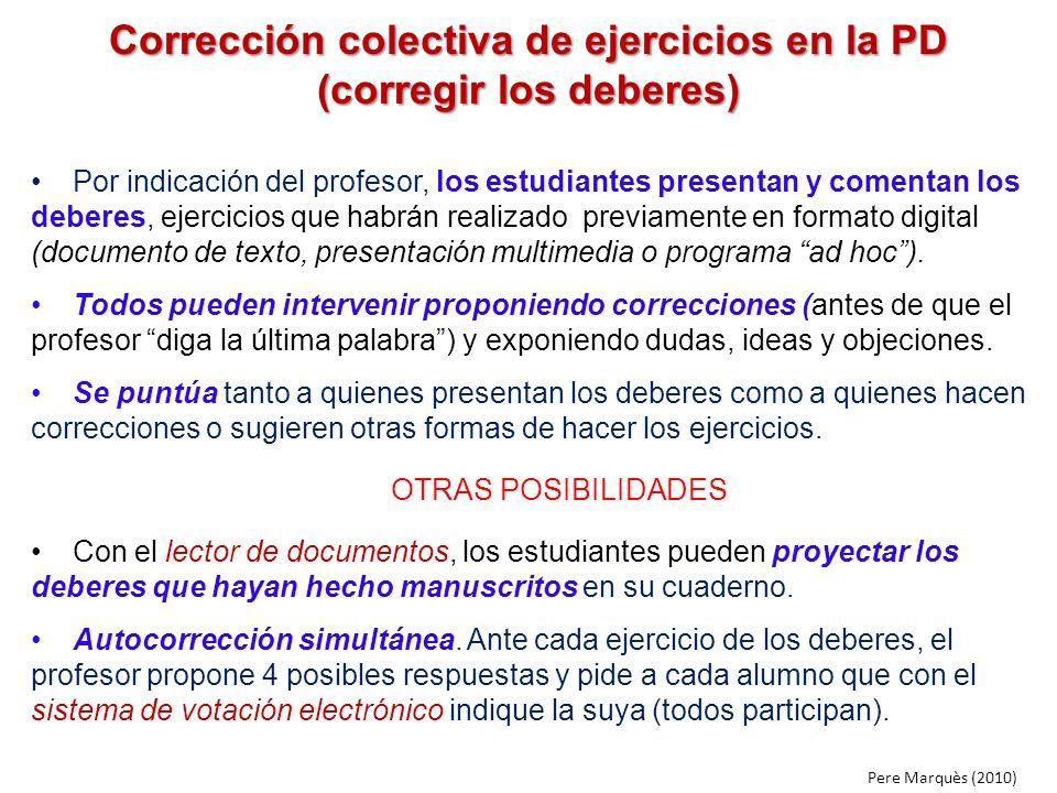 Corrección colectiva de ejercicios en la PD (corregir los deberes)