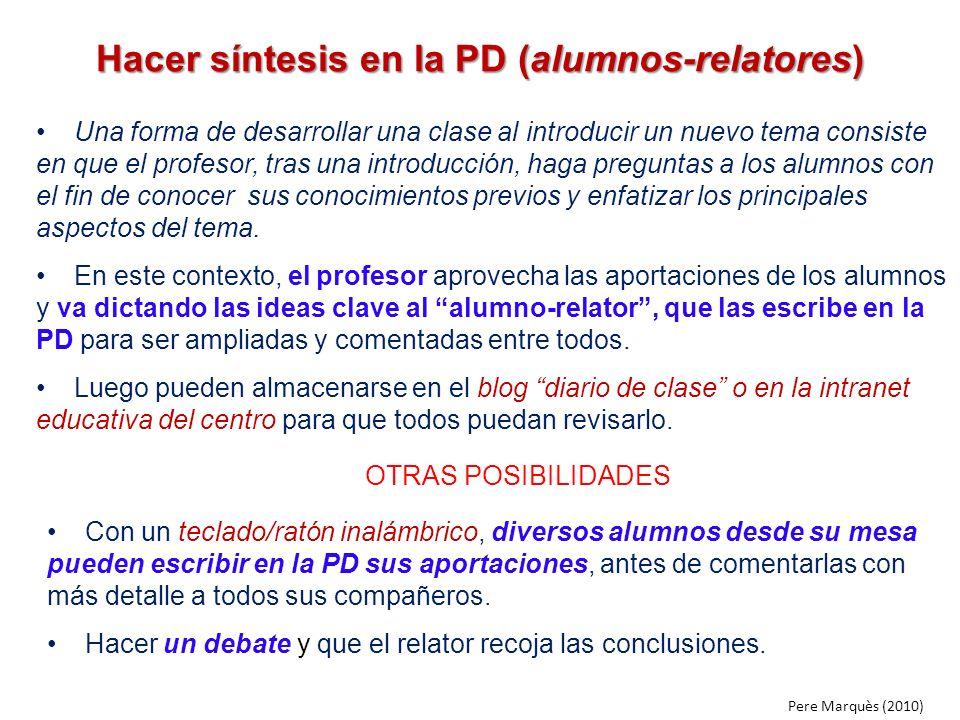 Hacer síntesis en la PD (alumnos-relatores)