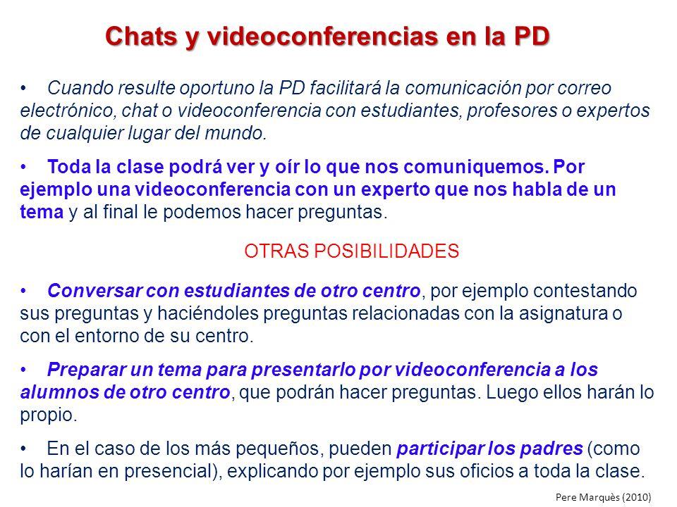 Chats y videoconferencias en la PD