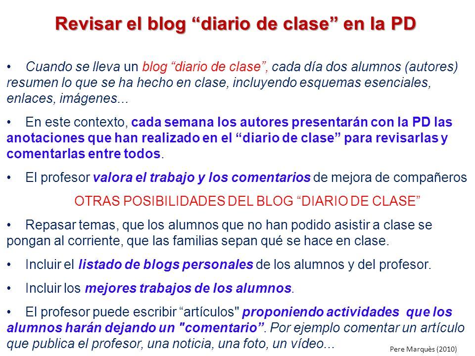 Revisar el blog diario de clase en la PD