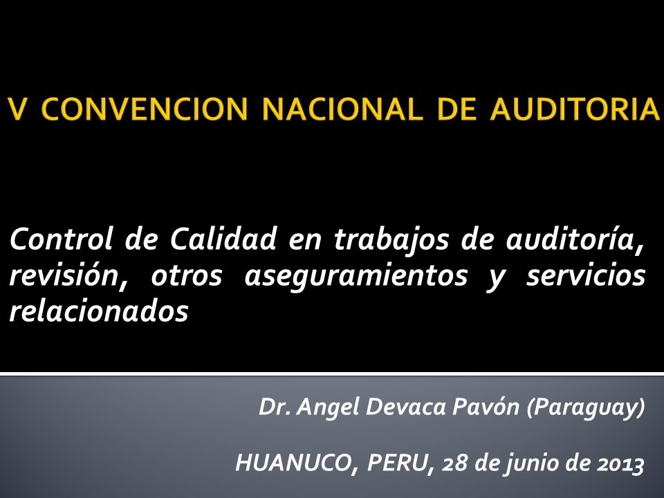V CONVENCION NACIONAL DE AUDITORIA