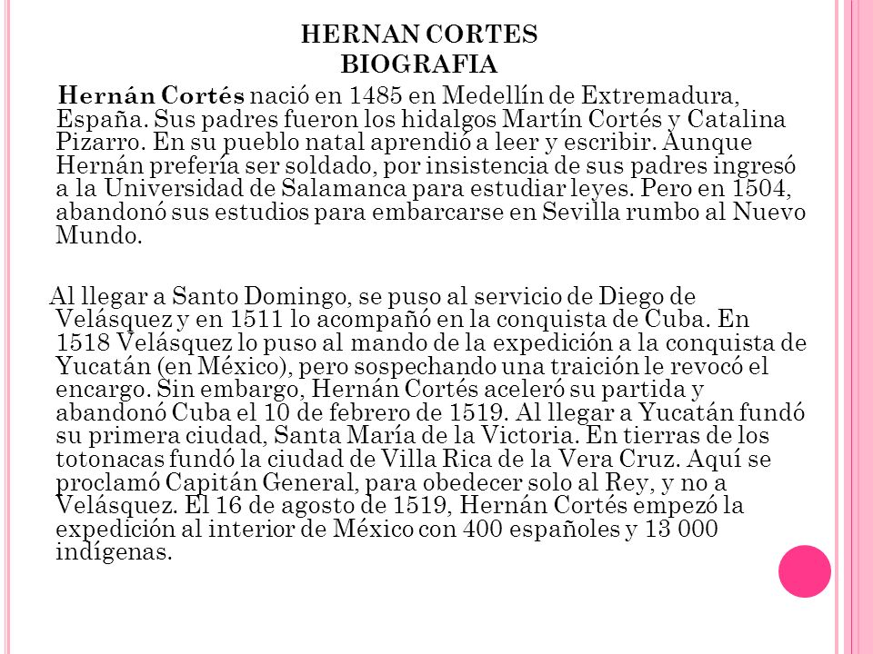 HERNAN CORTES BIOGRAFIA.