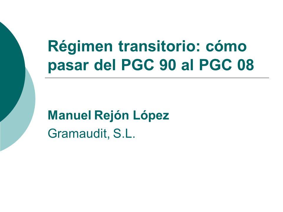 Régimen transitorio: cómo pasar del PGC 90 al PGC 08