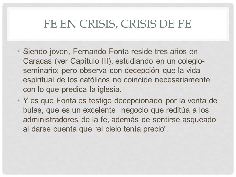 Fe en crisis, crisis de fe