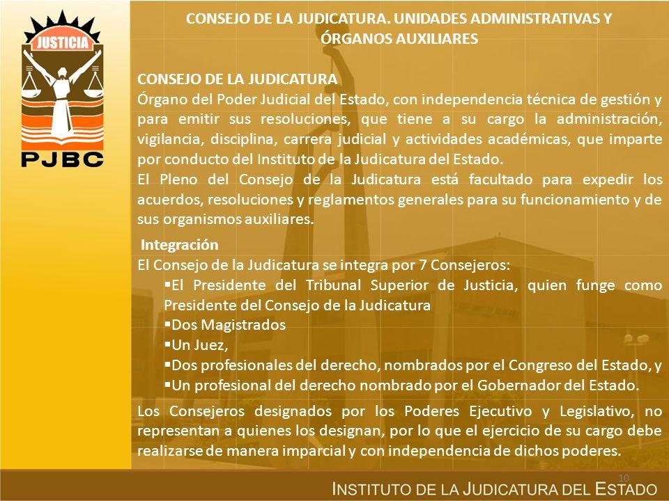 CONSEJO DE LA JUDICATURA. UNIDADES ADMINISTRATIVAS Y