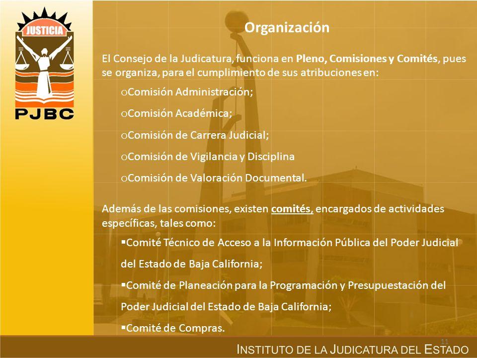 Organización El Consejo de la Judicatura, funciona en Pleno, Comisiones y Comités, pues se organiza, para el cumplimiento de sus atribuciones en: