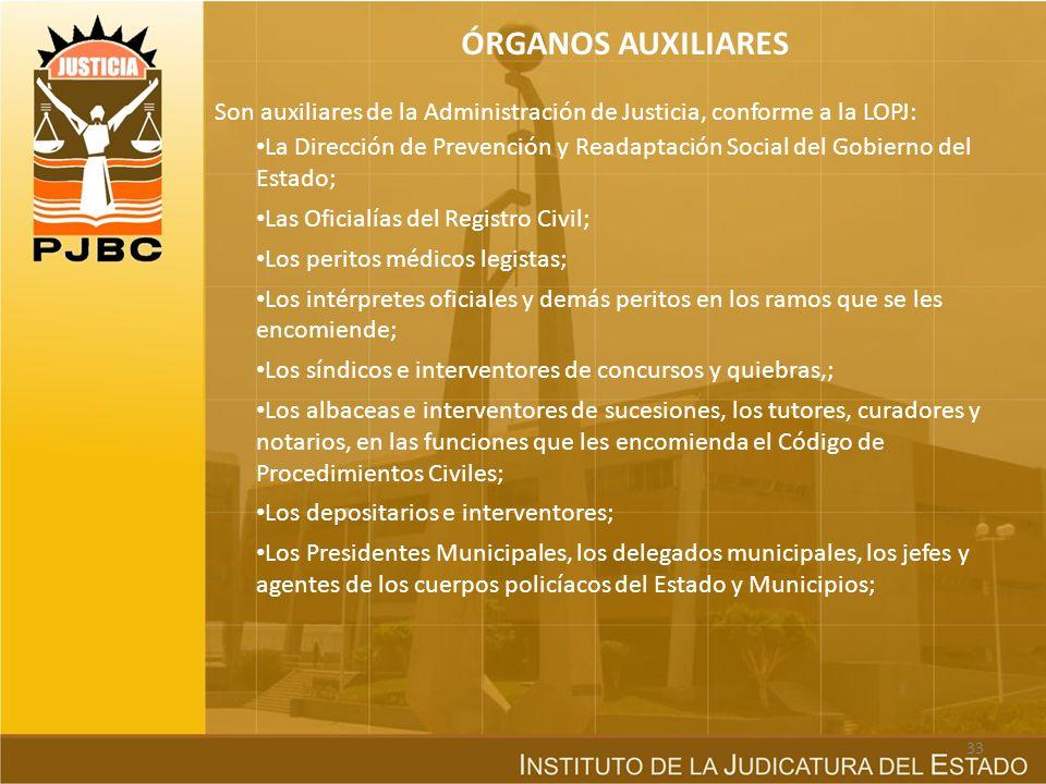 ÓRGANOS AUXILIARES Son auxiliares de la Administración de Justicia, conforme a la LOPJ: