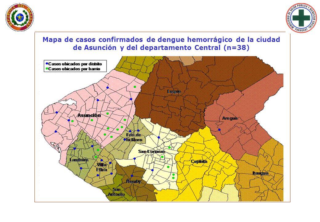 Mapa de casos confirmados de dengue hemorrágico de la ciudad de Asunción y del departamento Central (n=38)