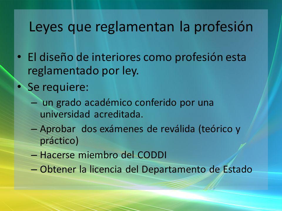 Leyes que reglamentan la profesión