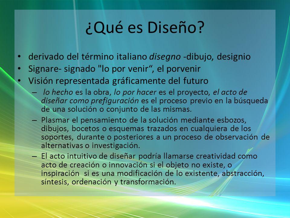 ¿Qué es Diseño derivado del término italiano disegno -dibujo, designio. Signare- signado lo por venir , el porvenir.