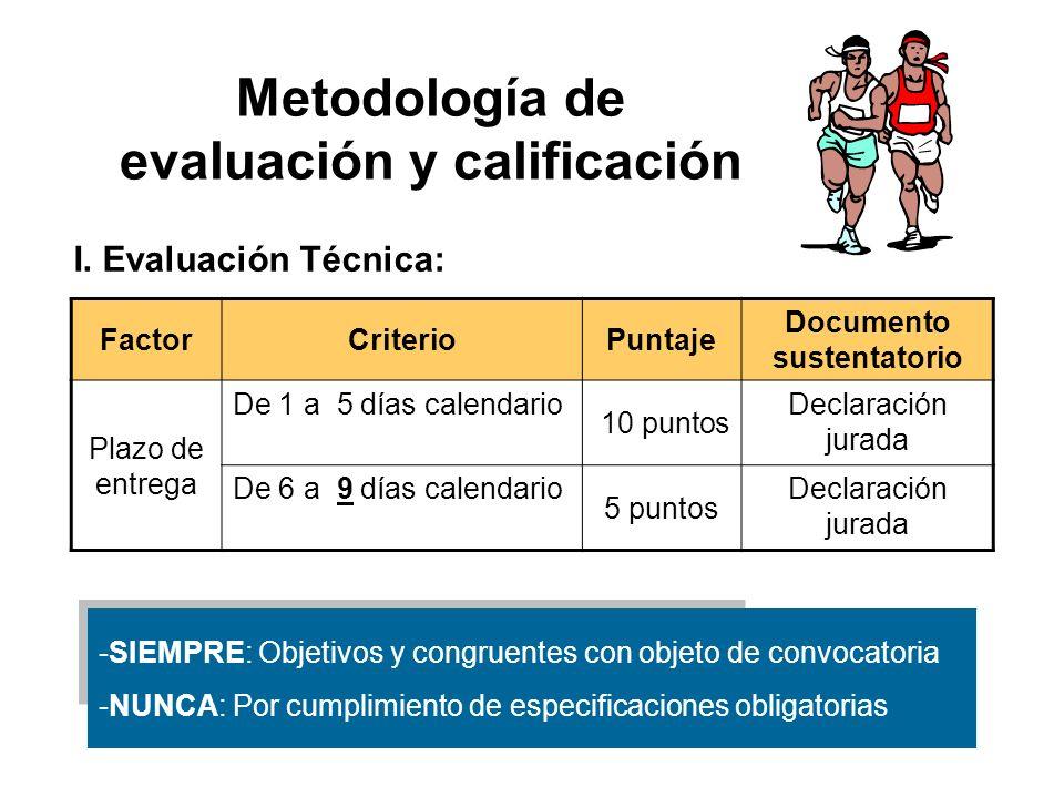 Metodología de evaluación y calificación