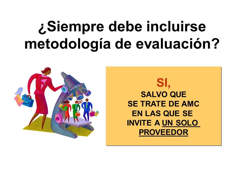 ¿Siempre debe incluirse metodología de evaluación