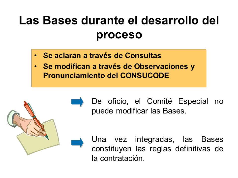 Las Bases durante el desarrollo del proceso