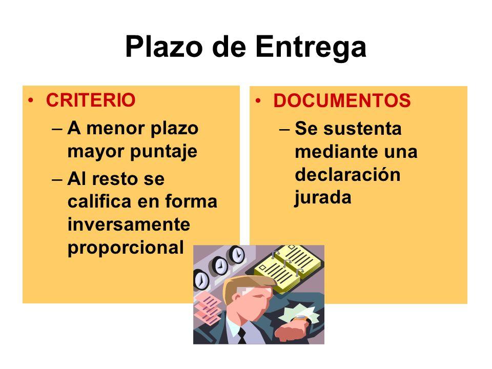 Plazo de Entrega CRITERIO DOCUMENTOS A menor plazo mayor puntaje