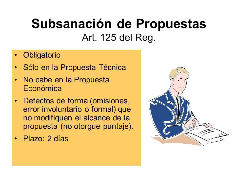 Subsanación de Propuestas Art. 125 del Reg.