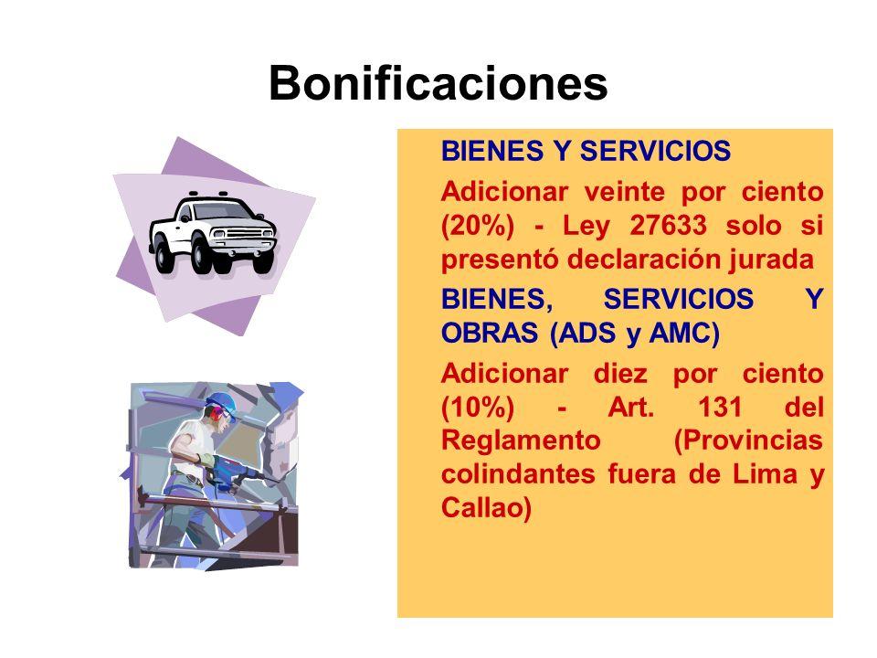 Bonificaciones BIENES Y SERVICIOS