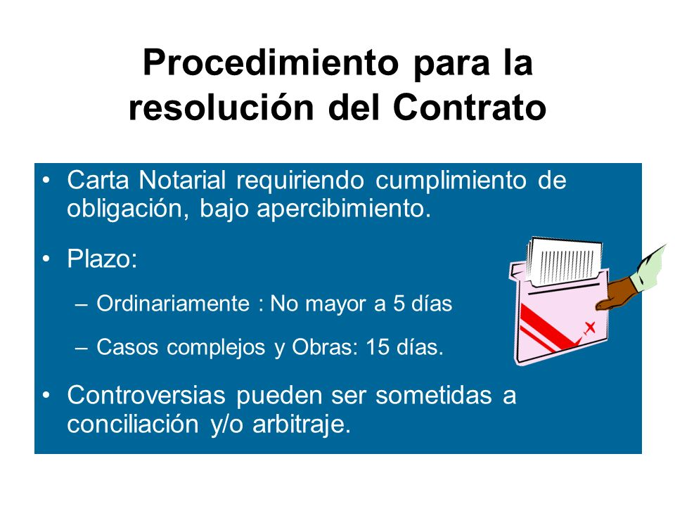 Procedimiento para la resolución del Contrato
