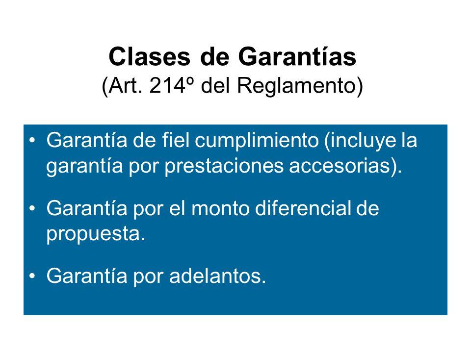 Clases de Garantías (Art. 214º del Reglamento)