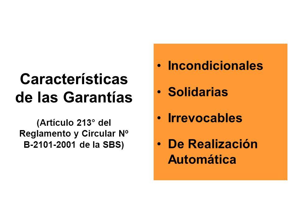 Características de las Garantías (Artículo 213° del Reglamento y Circular Nº B-2101-2001 de la SBS)