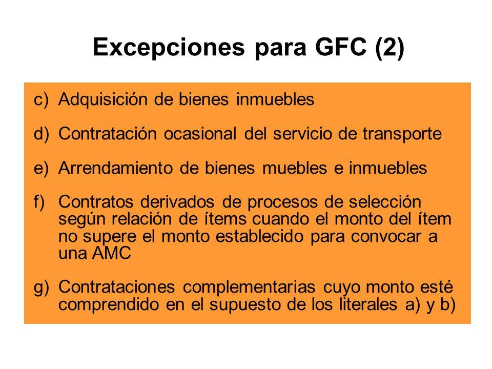 Excepciones para GFC (2)