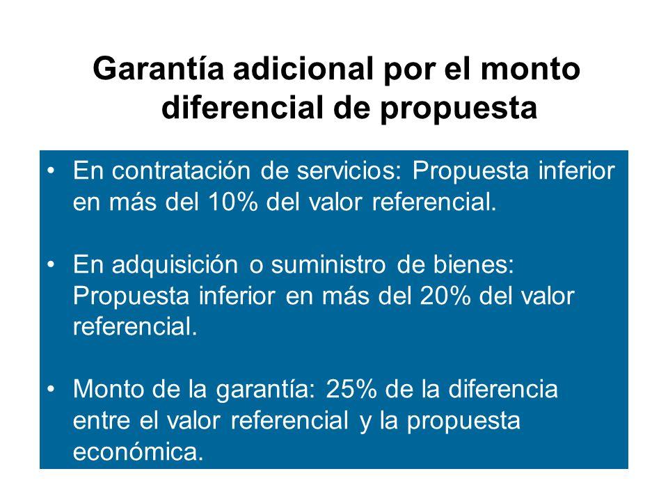 Garantía adicional por el monto diferencial de propuesta