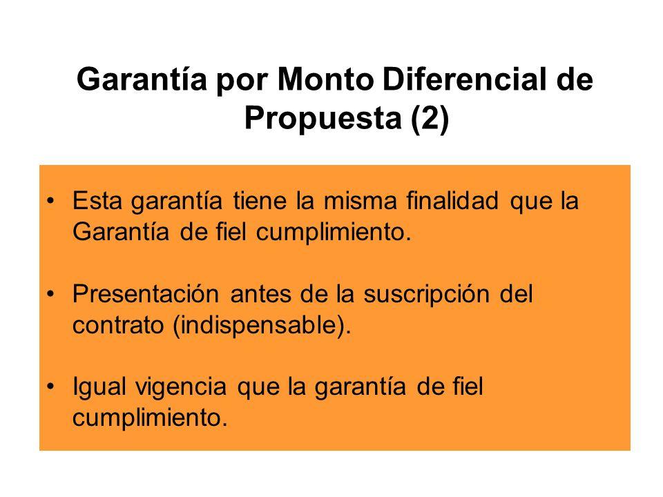 Garantía por Monto Diferencial de Propuesta (2)